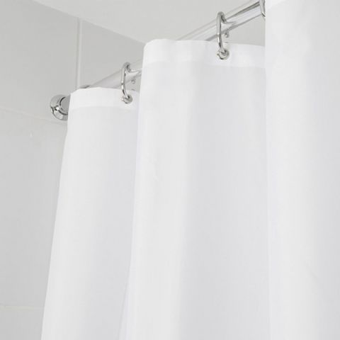 Croydex White Machine Washable Textile Shower Curtain
